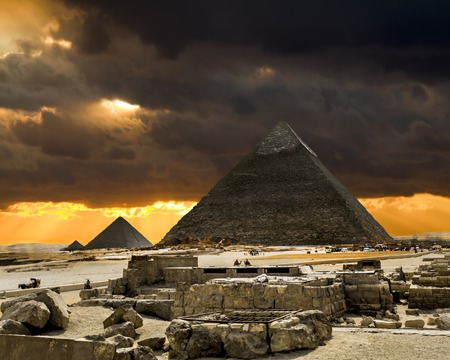 cheops: The pyramid of Cheops in Giza in the sunny day, Cairo, Egypt
