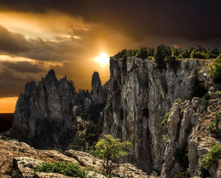 fisht: The top of Mount Ai-Petri in Crimea against the backdrop of a colorful sunset Stock Photo
