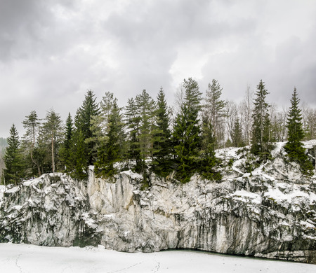quarries: Harsh northern Misty landscape. Ruskeala marble quarries in Karelia, Russia in winter Stock Photo