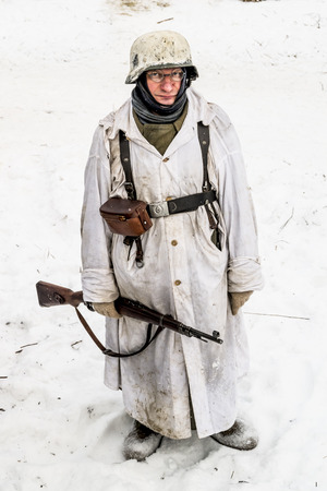 breakout: Russia St. Petersburg. January 25, 2015.Soldiers of the Wehrmacht. military history clubs spend renovating the breakout the siege of Leningrad in World War II Editorial