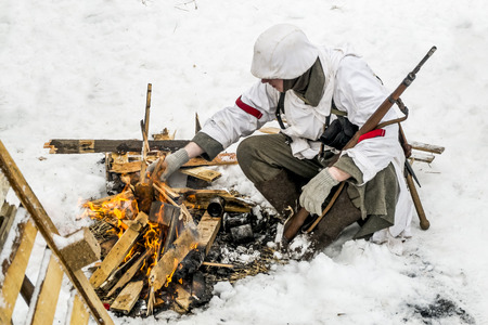wehrmacht: Russia St. Petersburg. January 25, 2015.Soldiers of the Wehrmacht. military history clubs spend renovating the breakout the siege of Leningrad in World War II Editorial
