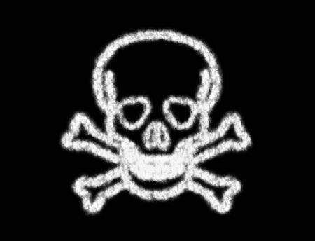 freebooter: Symbol of skull bone from the cloud on black background