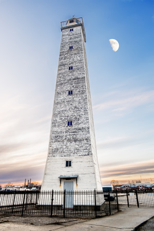 St. Petersburg.Russia. 26 April 2015. views of the Wooden lighthouse in kronstadt by Moonlight