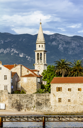 budva: Old town of Budva in Montenegro at sunset in summertime