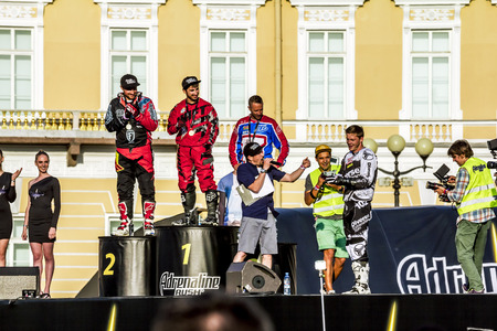 adrenaline rush: St. Peterburg.Rossiya.04 July 2015.Rewarding winners at Adrenaline Rush Moto freestyle show on the Palace Square in St. Petersburg Editorial