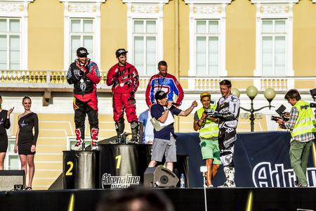 adrenaline rush: St. Peterburg.Rossiya.04 July 2015.Rewarding winners at Adrenaline Rush Moto freestyle show on the Palace Square in St. Petersburg Editorial