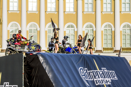 adrenaline rush: St. Peterburg.Russia.04 July 2015. Adrenaline Rush FMX Riders Moto freestyle show on the Palace Square in St. Petersburg.
