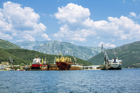 shiprepair: Ship-repair docks with the ships in the Bay of Kotor.Montenegro. view from the sea.