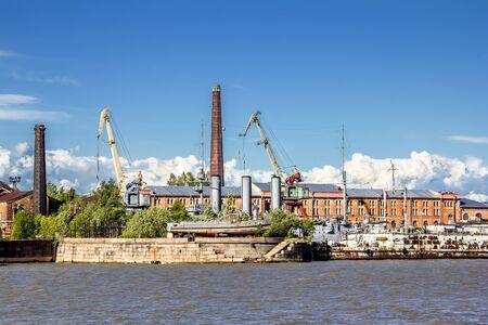 repairs: St. Petersburg.Russia. June 8, 2015. Cruiser Aurora on repairs at the dock of Kronstadt.