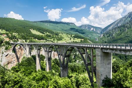tara: the bridge of Dzhurdzhevich over the Tara River Canyon. Montenegro