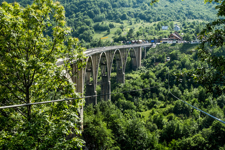 tara: the bridge of Dzhurdzhevich over the Tara River Canyon. Montenegro