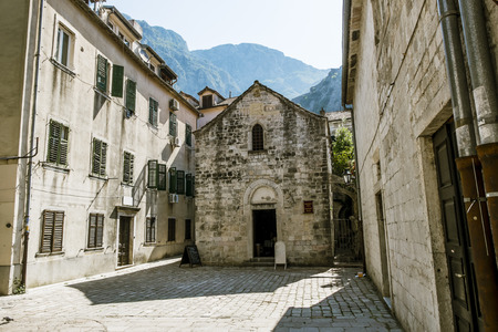 mount saint michael: St. Michaels Church in the old town of Kotor in sunny summer day.Montenegro.
