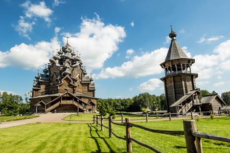 cupolas: The monument of wooden architecture Pokrovsky graveyard in St. Petersburg,Russia.