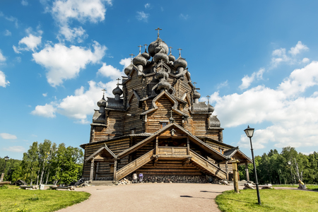 architectural tradition: The monument of wooden architecture Pokrovsky graveyard in St. Petersburg,Russia.