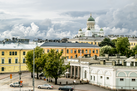senate: View over the rooftops and the Cathedral in Helsinki Senate square in Finland