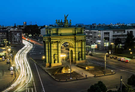 electric avenue: June 14 2015.Saint-Petersburg.Narva triumphal arch on the Stachek square at nigth illumination . Russia. Editorial