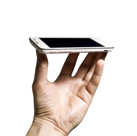 Smartphone in hand shot isolated on white background