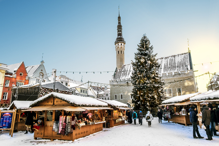 town hall square: January 6, 2016.Tallinn.View of the Christmas market on town hall square in Tallinn in winter . Estonia. Stock Photo