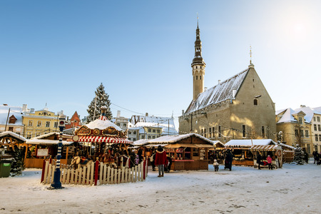 town hall square: January 6, 2016.Tallinn.View of the Christmas market on town hall square in Tallinn in winter . Estonia. Editorial