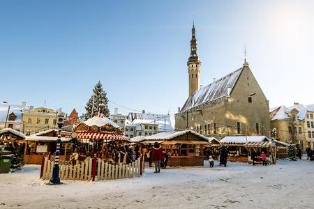 estonian: January 6, 2016.Tallinn.View of the Christmas market on town hall square in Tallinn in winter . Estonia. Editorial