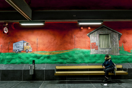 solna: January 5, 2016. Stockholm. The interior and the paintings on the walls at the station Solna Centrum in Stockholm metro.Sweden.