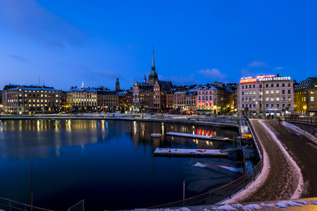 stan: 5 january 2016. Stockholm. view of the old town Gamla Stan in Stockholm at evening illumination in winter.Sweden.