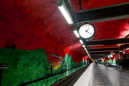 solna: January 5, 2016. Stockholm. The interior and the platform of station Solna Centrum in Stockholm metro.Sweden.