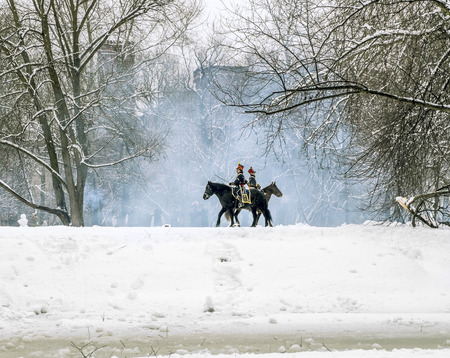 reenactment re enactment: February 23, 2016. Saint-Petersburg. The reconstruction of the war of 1812 in the Ekateringof Park in Saint Petersburg. Russia. Editorial