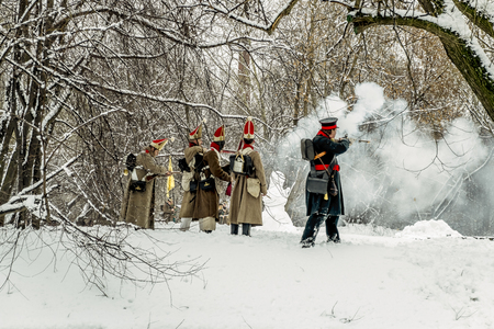 re enactment: February 23, 2016. Saint-Petersburg. The reconstruction of the war of 1812 in the Ekateringof Park in Saint Petersburg. Russia. Editorial