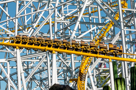 adrenaline rush: June 8, 2013 .Saint-Petersburg.Roller coaster at the amusement Park Divo Ostrov in St. Petersburg . Russia.