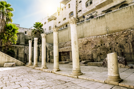 jewish houses: Sep 19, 2012. Jerusalem. Roman street in the old city of Jerusalem. Israel.