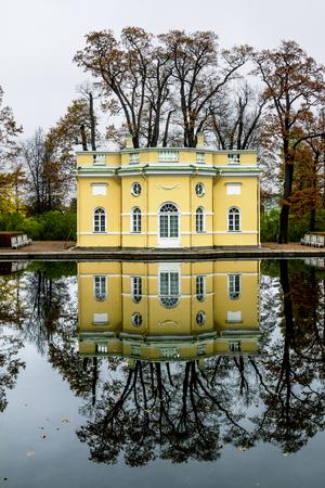 upper: October 14, 2012. Pushkin, Ekaterininsky Park. Pavilion Upper bath.Russia.