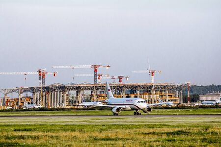 flight mode: July 28, 2012. Saint-Petersburg.The construction of the international terminal of Pulkovo airport.Russia. Editorial