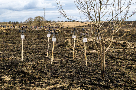 wehrmacht: April 03, 2016. Saint-Petersburg. Makeshift crosses on the graves of Wehrmacht soldiers on military-Patriotic festival Battle steel.Saint-Petersburg.Russia.