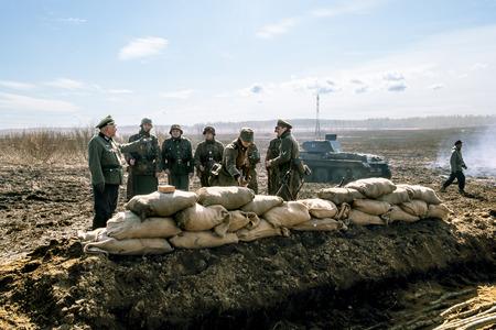 wehrmacht: April 03, 2016. Saint-Petersburg.Group photo Wehrmacht soldiers on military-Patriotic festival Battle steel.Saint-Petersburg.Russia. Editorial