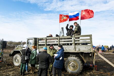 counter terrorism: April 03, 2016. Saint-Petersburg.Military under the Russian flag on the truck on the military-Patriotic festival Battle steel.Saint-Petersburg.Russia.