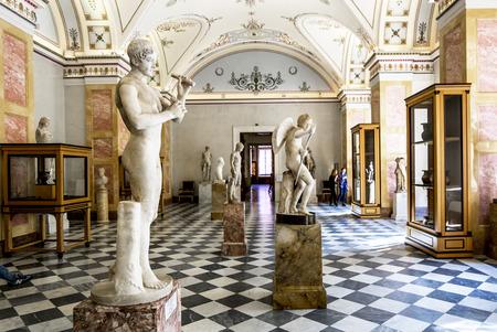 hermitage: 17 April 2016. Saint-Petersburg.Ancient Greek sculptures in the hall of Hercules in the Hermitage Museum in St. Petersburg.Russia.