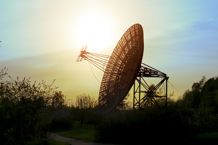 astronomic: May 7, 2016. Saint-Petersburg.Antenna radio telescope of the Pulkovo Observatory at sunset in St. Petersburg.Russia. Editorial