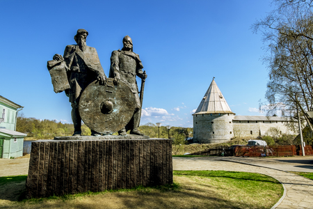 leningradskaya: 02 may 2016. Staraya Ladoga.The monument to princes Rurik and Oleg Prophetic in the Old Ladoga.Russia. Editorial