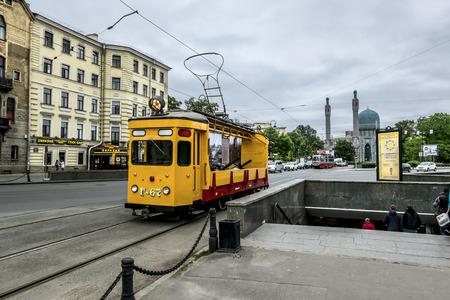 historical reflections: may 27, 2016. Saint-Petersburg.Vintage tram on Kamennoostrovsky prospect Saint Petersburg. Russia. Editorial