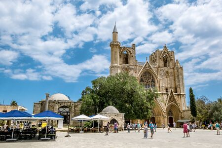 mustafa: May 24, 2016.Famagusta.St. Nicholas Cathedral − mosque of Lala Mustafa Pasha in the old town of Famagusta .Northern Cyprus.