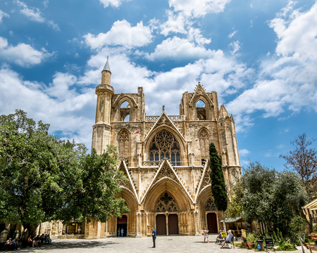 Famagusta.St. Nicholas Cathedral mosque of Lala Mustafa Pasha in the old town of Famagusta .Northern Cyprus. Imagens - 61003771