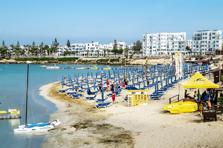 cyprus tree: May 24, 2016.Protaras.Hotels and beach at Fig tree Bay in Protaras .Cyprus.