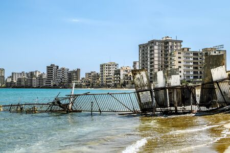 May 24, 2016.Famagusta.Abandoned hotels  and the beach at Varosha in Famagusta .Northern Cyprus. Editoriali