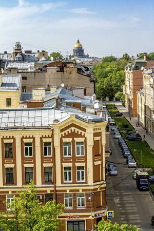 13 may 2016.Sain-Petersburg.View from the roof to the street and St. Isaacs Cathedral in St. Petersburg.Russia.