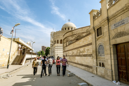 the victorious: 12 april 2014.Cairo .Street near Temple of the Holy great martyr George the victorious in Cairo .Egipt Stock Photo