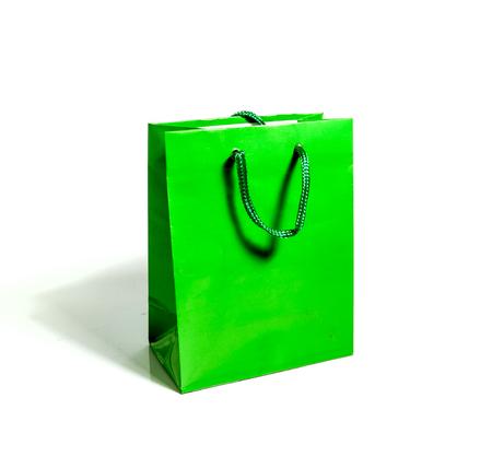 Green gift bag isolated shot on white background Stock Photo