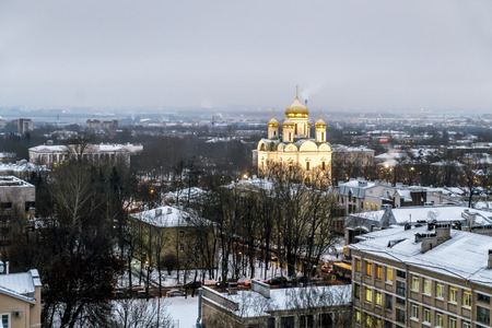 city pushkin: Pushkin .Russia. December 15, 2016. Views   Catherines Cathedral and the rooftops of the city at Tsarskoe Selo in winter . Saint-Petersburg. Editorial