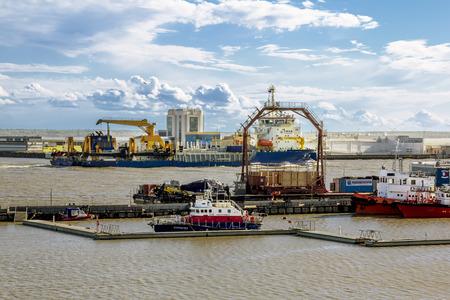 Kronstadt .Russia.June 8, 2015.Container terminal Moby dik in Kronshtadt, Saint-Petersburg.