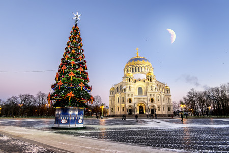 Kronstadt .Russia. January 6, 2017. View of the Kronstadt Naval Cathedral in the Christmas winter evening . Saint-Petersburg. Editorial